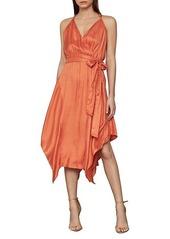 BCBG Max Azria Dot-Print Faux Wrap Satin Dress
