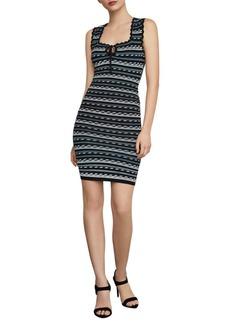 BCBG Max Azria Dotted Stripe Bodycon Dress