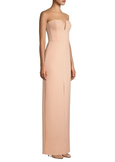BCBG Max Azria Double-Faced Crepe Notched Strapless Gown