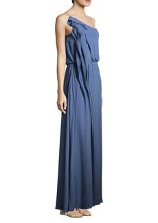 BCBG Max Azria Drape Column One-Shoulder Gown