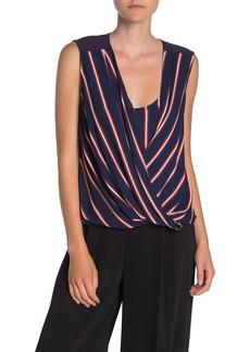 BCBG Max Azria Drape Front Striped Blouse