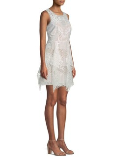 BCBG Max Azria Draped Lace Mini Dress