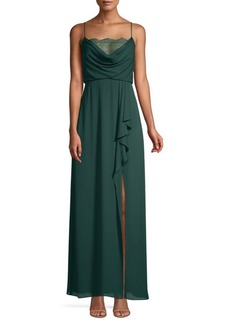BCBG Max Azria Draped Ruffle Evening Gown