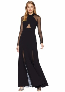 BCBG Max Azria Ellena Long Sleeve Gown with Crisscross