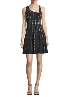 BCBG Max Azria Embellished Knit City Fit-&-Flare Dress