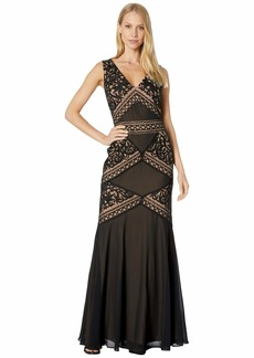 BCBG Max Azria Embroidered Evening Gown