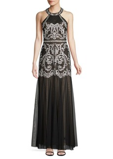 BCBG Max Azria Embroidered Halter Gown