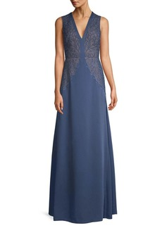 BCBG Max Azria Embroidered Lace A-Line Maxi Dress