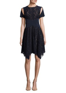 BCBG Max Azria Embroidered Lace Evening Dress