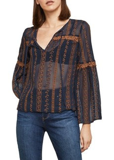 BCBG Max Azria Embroidered Sheer Bell-Sleeve Top