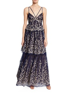 BCBG Max Azria Embroidered Tiered-Skirt Lace Gown