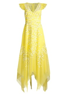 BCBG Max Azria Embroidered Tulle Ruffle Dress
