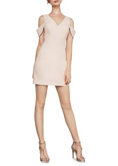 BCBG Max Azria Eve Cold-Shoulder Crepe Mini Sheath Dress