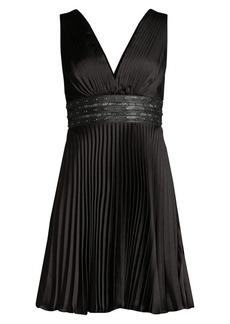 BCBG Max Azria Eve Studded Empire-Waist Pleated Mini Dress