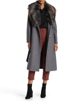 BCBG Max Azria Faux Fur Collar Wool Blend Coat