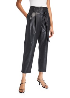 BCBG Max Azria Faux-Leather Belted Pants