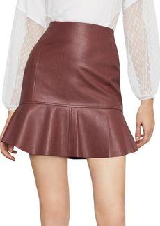 BCBG Max Azria Faux Leather Flounced Skirt