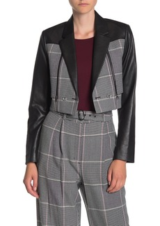 BCBG Max Azria Faux Leather Houndstooth Jacket