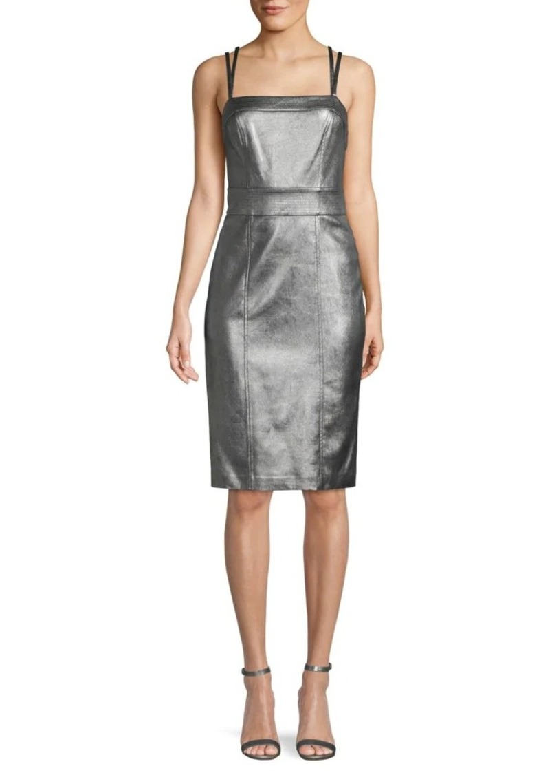 BCBG Max Azria Faux Leather Sheath Dress