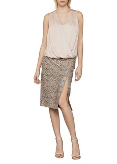 BCBG Max Azria Faux Leather Snake Print Midi Skirt