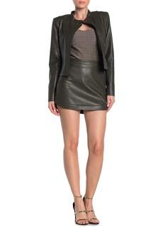 BCBG Max Azria Faux Leather Tulip Mini Skirt