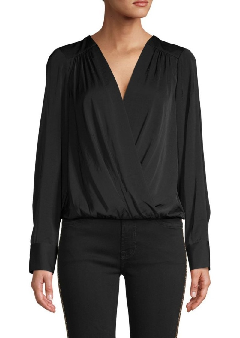 BCBG Max Azria Faux-Wrap Long Sleeve Bodysuit
