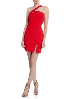BCBG Max Azria Fitted Halter-Neck Mini Cutout Dress