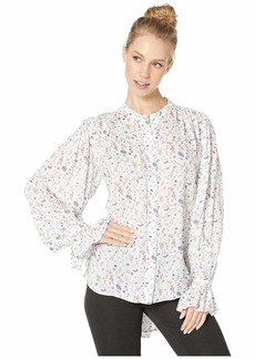 BCBG Max Azria Floral Blouse with Shirred Sleeve Detail