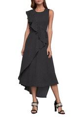 BCBG Max Azria Floral Dots Asymmetric Ruffle Dress
