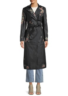 Floral-Embroidered Faux-Leather Trench Coat