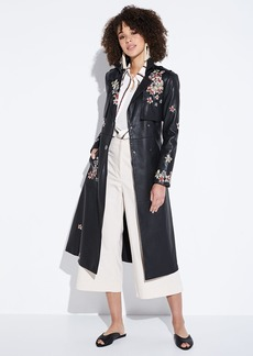 BCBG Max Azria Floral-Embroidered Faux-Leather Trench Coat