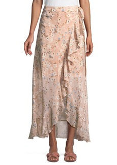 BCBG Max Azria Floral Georgette Maxi Wrap Dress