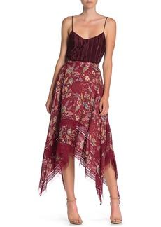 BCBG Max Azria Floral Hanky Hem Skirt