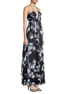 BCBG Max Azria Floral Print Ruffled Gown