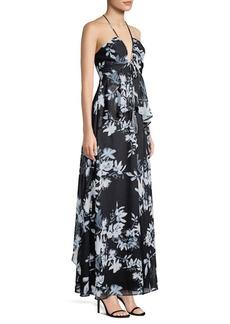 BCBG Max Azria Floral-Print Ruffled Gown
