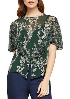 BCBG Max Azria Floral-Print Sheer Woven Top