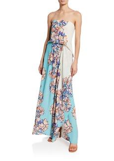 BCBG Max Azria Floral-Print Strapless Gown