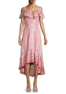 BCBG Max Azria Floral Ruffle High-Low Dress