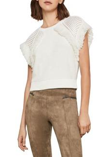 BCBG Max Azria Fringe Short-Sleeve Cotton Sweater