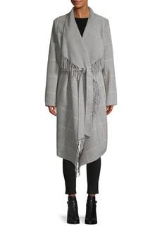 BCBG Max Azria Fringe-Trim Plaid Wool-Blend Belted Coat