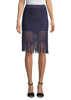BCBG Max Azria Fringed Crochet Pencil Skirt