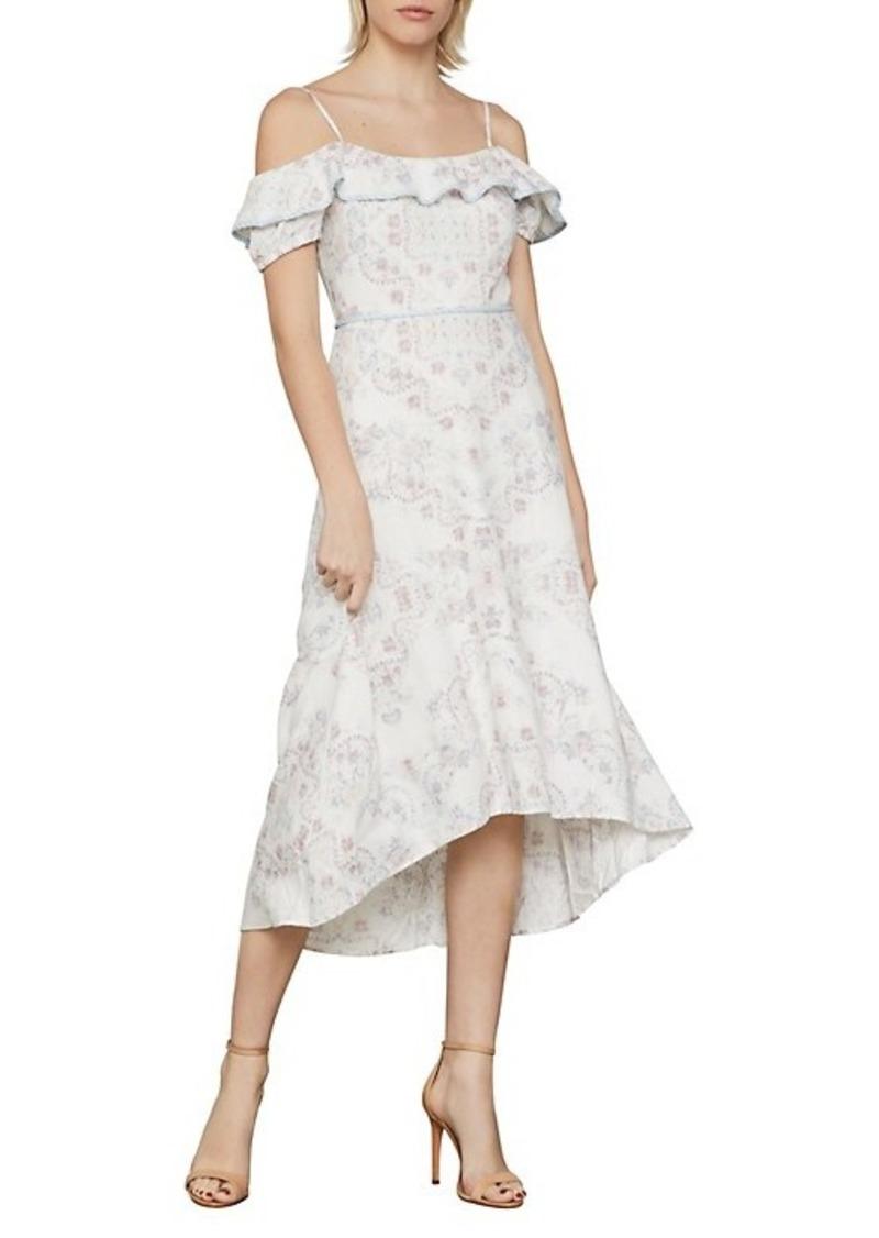 BCBG Max Azria Gardenia Cold-Shoulder Printed High-Low Dress
