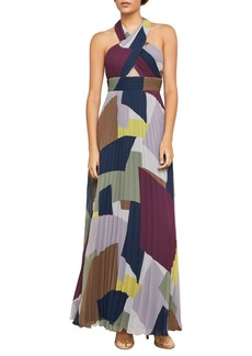 BCBG Max Azria Geometric Halter Gown