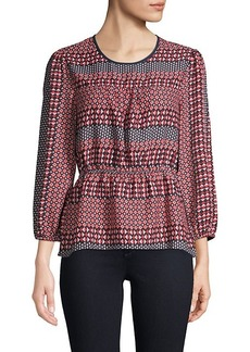 BCBG Max Azria Geometric-Print Balloon-Sleeve Top