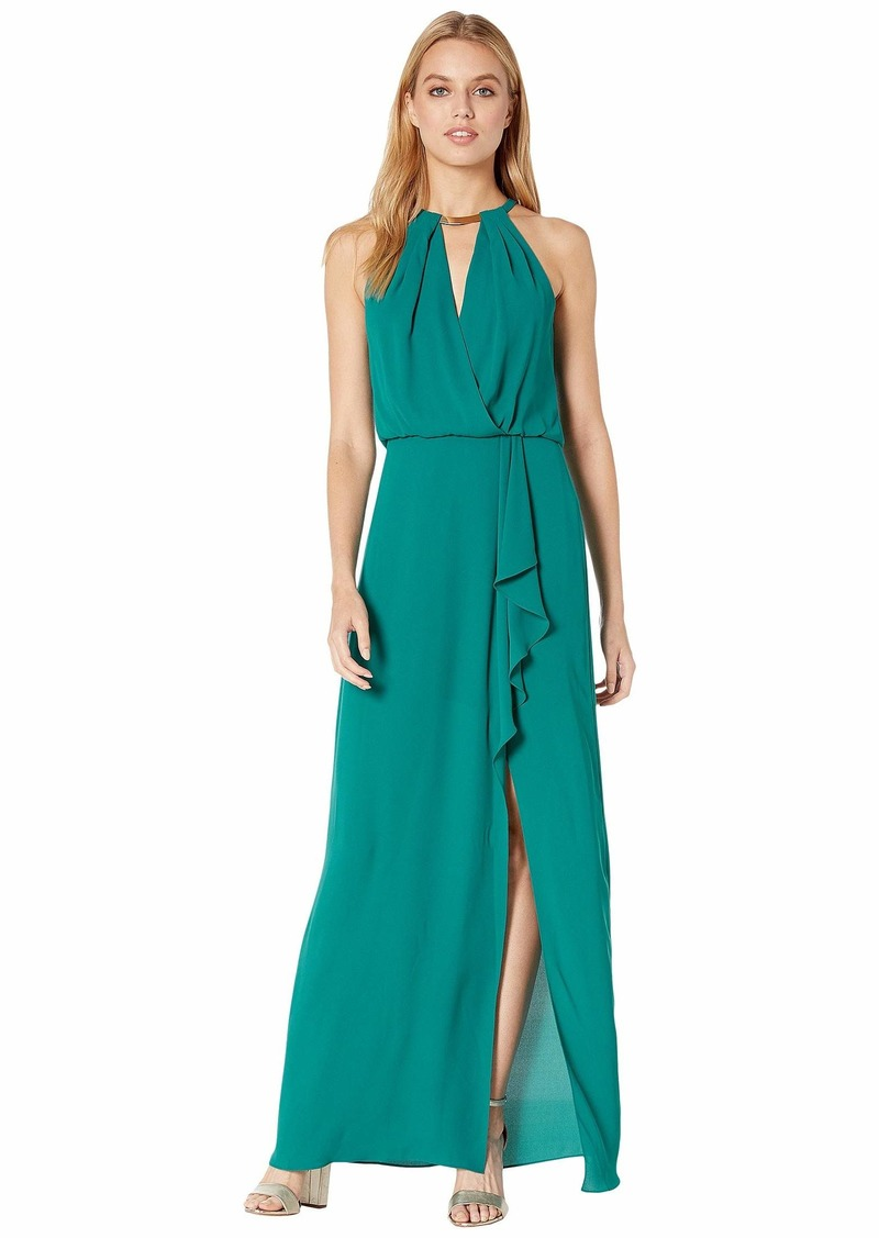 BCBG Max Azria Halter Gown with Metallic Braided Detail