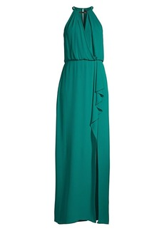 BCBG Max Azria Halter Keyhole Side Slit Gown