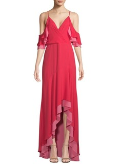 BCBG Max Azria High-Low Ruffle Gown