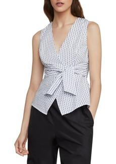 BCBG Max Azria Ikat Stripe Faux Wrap Top