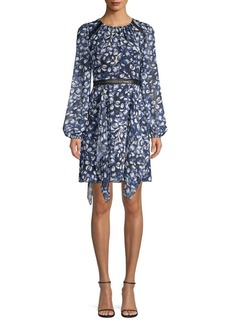 BCBG Max Azria Jewel Print Handkerchief Hem Dress