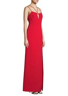 BCBG Max Azria Keyhole Side Slit A-Line Gown